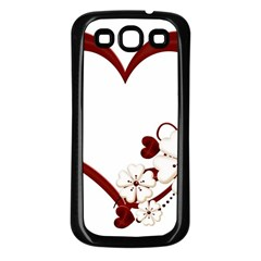 Red Love Heart With Flowers Romantic Valentine Birthday Samsung Galaxy S3 Back Case (Black)