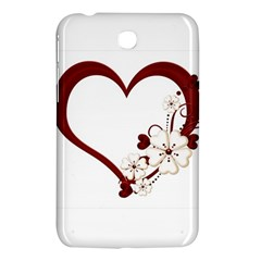 Red Love Heart With Flowers Romantic Valentine Birthday Samsung Galaxy Tab 3 (7 ) P3200 Hardshell Case