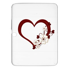 Red Love Heart With Flowers Romantic Valentine Birthday Samsung Galaxy Tab 3 (10.1 ) P5200 Hardshell Case