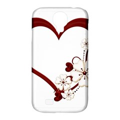 Red Love Heart With Flowers Romantic Valentine Birthday Samsung Galaxy S4 Classic Hardshell Case (pc+silicone)