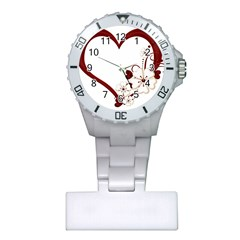 Red Love Heart With Flowers Romantic Valentine Birthday Nurses Watch