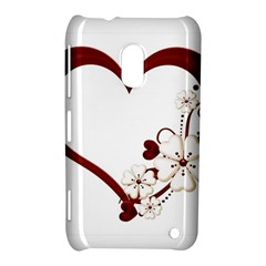 Red Love Heart With Flowers Romantic Valentine Birthday Nokia Lumia 620 Hardshell Case