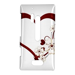 Red Love Heart With Flowers Romantic Valentine Birthday Nokia Lumia 928 Hardshell Case