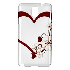 Red Love Heart With Flowers Romantic Valentine Birthday Samsung Galaxy Note 3 N9005 Hardshell Case