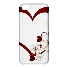 Red Love Heart With Flowers Romantic Valentine Birthday Apple iPhone 5C Hardshell Case