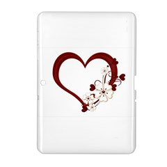 Red Love Heart With Flowers Romantic Valentine Birthday Samsung Galaxy Tab 2 (10.1 ) P5100 Hardshell Case