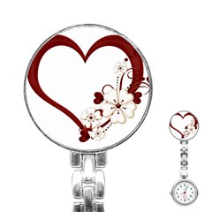 Red Love Heart With Flowers Romantic Valentine Birthday Stainless Steel Nurses Watch