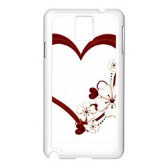 Red Love Heart With Flowers Romantic Valentine Birthday Samsung Galaxy Note 3 Case (White)