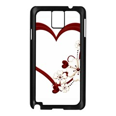 Red Love Heart With Flowers Romantic Valentine Birthday Samsung Galaxy Note 3 Case (Black)