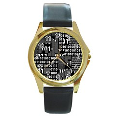Beauty of Binary Round Leather Watch (Gold Rim)
