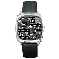 Beauty Of Binary Square Leather Watch