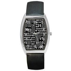 Beauty of Binary Tonneau Leather Watch