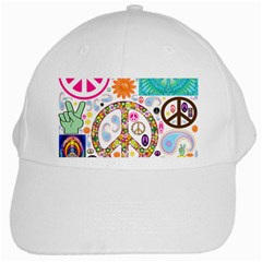 Peace Collage White Baseball Cap