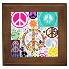 Peace Collage Framed Ceramic Tile