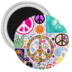 Peace Collage 3  Button Magnet