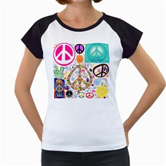 Peace Collage Women s Cap Sleeve T-Shirt (White)