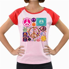 Peace Collage Women s Cap Sleeve T-Shirt (Colored)