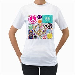 Peace Collage Women s Two Sided T Shirt (white)