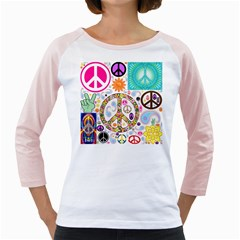 Peace Collage Women s Long Cap Sleeve T-Shirt (White)