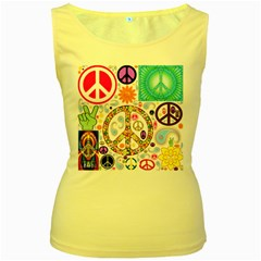 Peace Collage Women s Tank Top (Yellow)