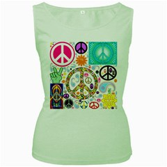 Peace Collage Women s Tank Top (Green)
