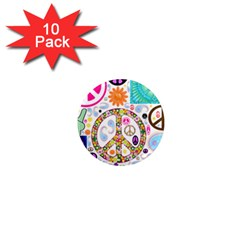 Peace Collage 1  Mini Button Magnet (10 pack)