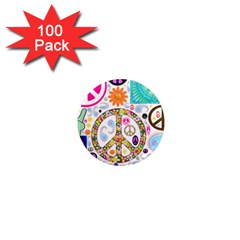 Peace Collage 1  Mini Button Magnet (100 pack)