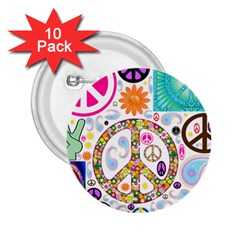 Peace Collage 2 25  Button (10 Pack)