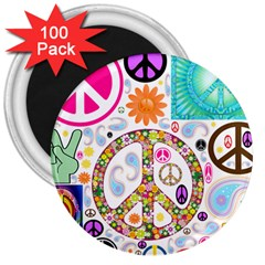 Peace Collage 3  Button Magnet (100 Pack)