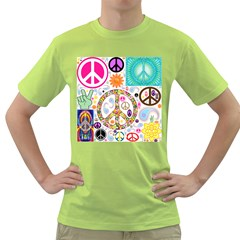 Peace Collage Men s T-shirt (Green)