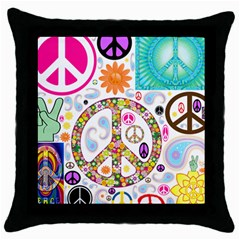 Peace Collage Black Throw Pillow Case
