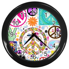 Peace Collage Wall Clock (black)