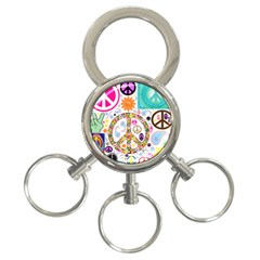 Peace Collage 3 Ring Key Chain
