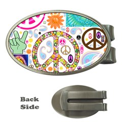 Peace Collage Money Clip (oval)