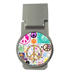Peace Collage Money Clip (Round)