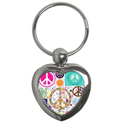 Peace Collage Key Chain (Heart)
