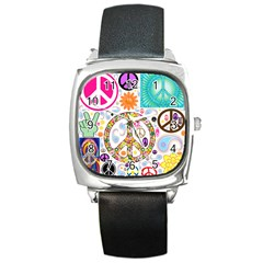 Peace Collage Square Leather Watch