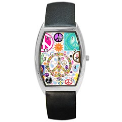 Peace Collage Tonneau Leather Watch
