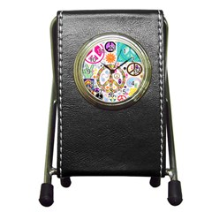 Peace Collage Stationery Holder Clock