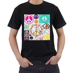 Peace Collage Men s Two Sided T-shirt (Black)