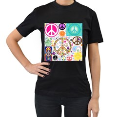Peace Collage Women s Two Sided T-shirt (Black)