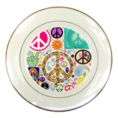 Peace Collage Porcelain Display Plate
