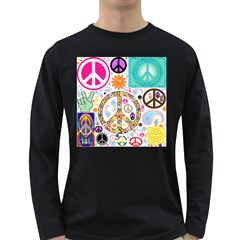 Peace Collage Men s Long Sleeve T-shirt (Dark Colored)