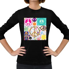 Peace Collage Women s Long Sleeve T-shirt (Dark Colored)