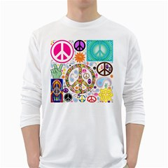 Peace Collage Men s Long Sleeve T-shirt (White)
