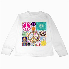 Peace Collage Kids Long Sleeve T Shirt