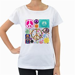 Peace Collage Women s Maternity T-shirt (White)