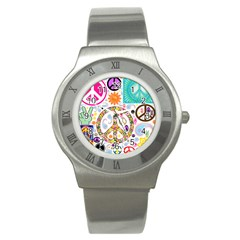 Peace Collage Stainless Steel Watch (slim)