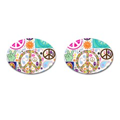 Peace Collage Cufflinks (Oval)