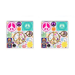 Peace Collage Cufflinks (square)